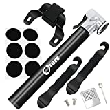 Foneso Mini Bike Pump with Glueless Puncture Repair Kit, Frame Mount & Ball Needle, 300 PSI Capacity