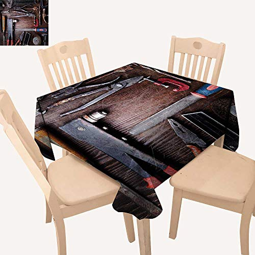 haommhome Industrial Decor Picnic Cloth Crafting Equipment Obsolete Dusty Mechanic Tools Collection Carpentry BBQ Tablecloth W 36