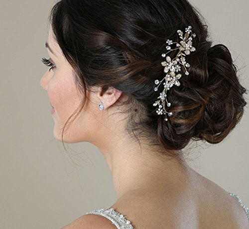 SWEETV Wedding Hair Comb Silver - Pearl Flower Bridal Clip Rhinestone Hair Accessories for Bride, -