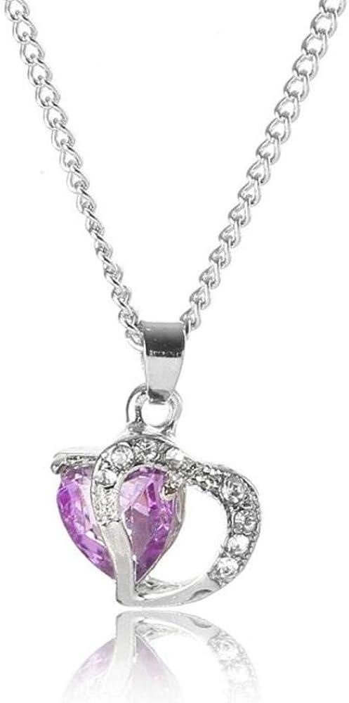 sufengshop Colgante de Piedra de Cristal púrpura de Moda Collar de Piedra Encanto de la Vendimia Cadena de Hierro Colgantes Collares Joyas para Mujeres Regalo