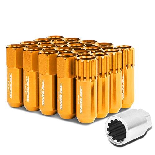 M12 x 1.5 Open End Design 16-Piece Anodized Aluminum Alloy Wheel Lug Nuts + 4 x Lock Nut + 1 x Lock Nut Key (Orange) (Kia Wheels Alloy)