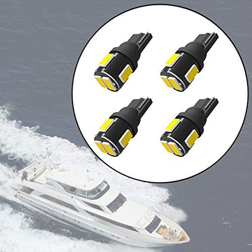 Shangyaun 906 Led Bulbs T10 Wedge Base Marine Boat Light Bulb fit Stern Light Anchor Light Navigation Lights All-Round Light Mast Light for Kayak Saitboat Pontoon Boat DC12V White (Pack of 4)