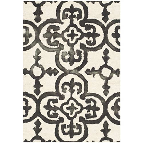 Safavieh Dip Dye Collection DDY711D Handmade Moroccan Geometric Watercolor Ivory and Charcoal Wool Area Rug (2' x 3')