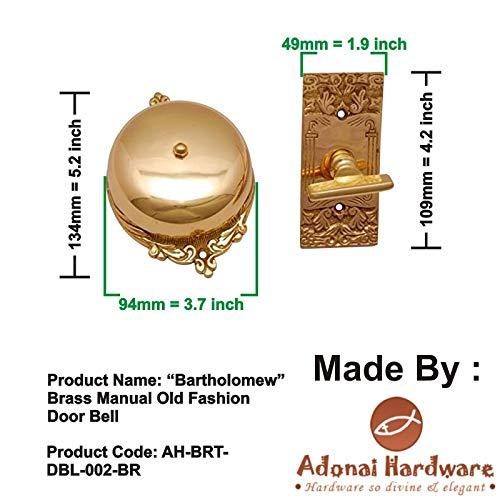 Adonai Hardware Bartholomew Brass Manual Old Fashion Door Bell or Twist Door Bell or Hand-Turn Door Bell