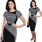 DaySeventh Women's Short Sleeve Elegant Business Dress Office Bodycon Dresses (M, Black)