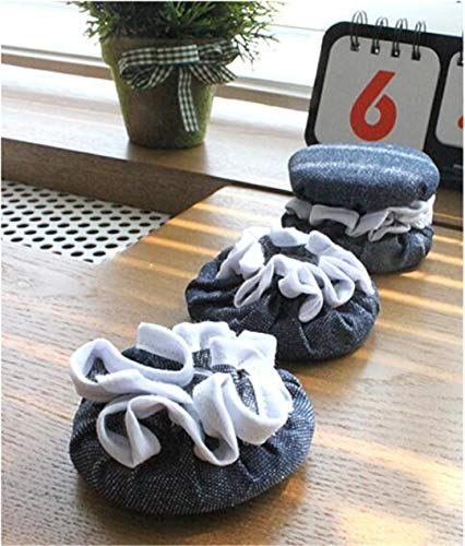 (4Pcs/Set Creative Cute Cloth Round Chair Leg Protector Sofa Table Foot Socks Mat Non-Skid Furniture Foot Covers Denim B)