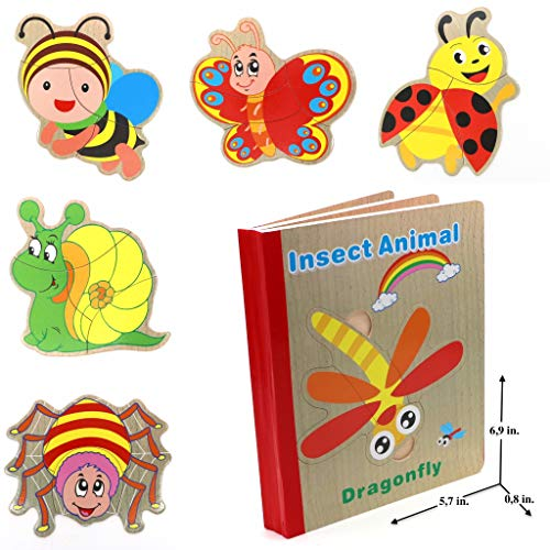Wooden Books Puzzle- Insect Animals|Wooden Books - 6 Collapsible Pages of Various Shapes and Colors|Developing of Fine Motor Skills,Memory Toys for Kids|Learning Shape,Color and Sorting| Gift for Kids ()