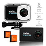 WiMiUS 4K Action Camera 2.45'' LCD Touchscreen 16MP 1080P 30M Underwater Cameras Wifi Waterproof Cam Sports Camcorder 170° Wide-Angle Lens Helmet Camera with Accessories Kit, L3 Black