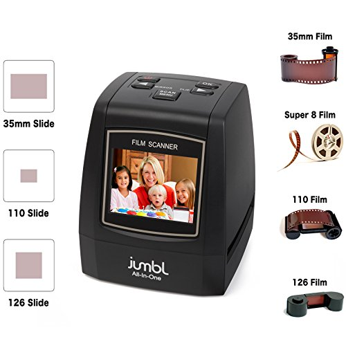 Jumbl 22MP All-In-1 Film & Slide Scanner w/ Speed-Load Adapters for 35mm Negative & Slides, 110, 126, & Super 8 Films