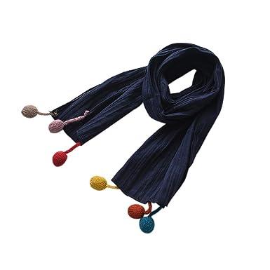 84e766b95f65 Pour bébé Echarpe Enfant 3-12Ans Multicolore avec Des Frange en Boules  Echarpes en Coton