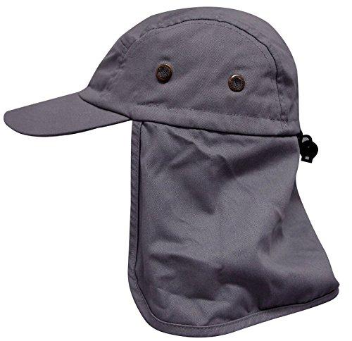 AshopZ Fishing Hat Safari Hat Sun Protection Outdoors Neck Flap Cap Dark Gray