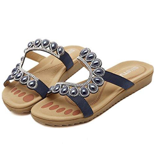 dqq Mujer Playa Rhinestone Flat Sandal Azul