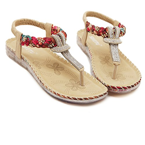Fortuning's JDS Elegant fashion glittered flat sandals thongs for ladies & girls apricot qVzGrB
