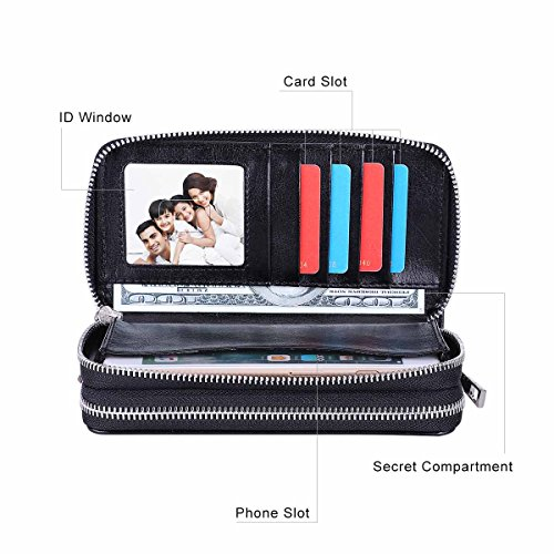 BANGBO PU Leather Clutch Wallet Purse With Double Zippered Card Slots Portable Handbag for Women