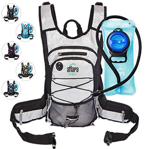 Atlapa Sports Lightweight Hydration Water Backpack 2L TPU Leak Proof Water Bladder Insulated Pocket Keeps Liquids Cold Adjustable Straps Daypack for Hiking Skiing, Running, Cycling
