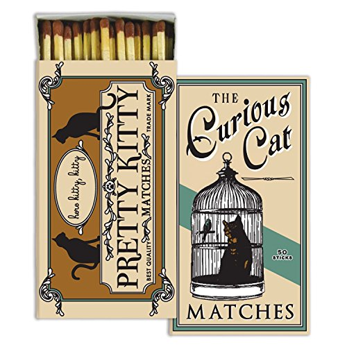 HomArt Curious Cat Large Decorative Matches Set of 3 matchboxes