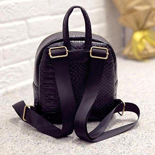 Clode® Mujeres Fahion concisa serpentina mochila escolar libro bandolera Negro