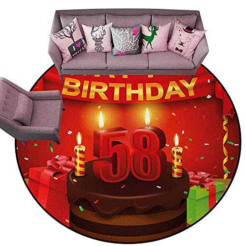 Floor Mats Modern Kitchen Rug 58th Birthday,Celebration Birthday Party Surprise Chocolate Cake Fun with Friends Design,Multicolor Diameter 66