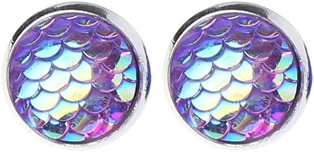 None Brand Beauty Fish - Pendientes de tuerca de plata con piedra drusa sintética, B, B