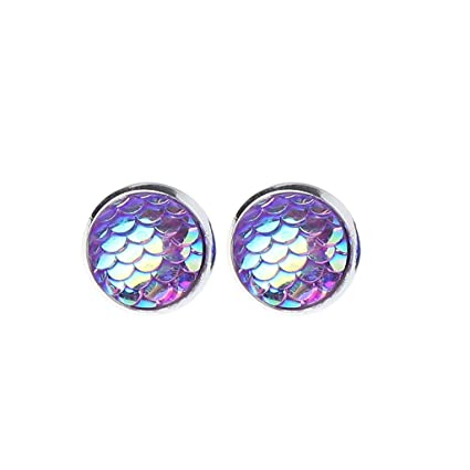 24a0c1df96236 JAGENIE Mermaid Scale Silver Tone Stud Earrings Faux Druzy Stone Seafoam  Clear