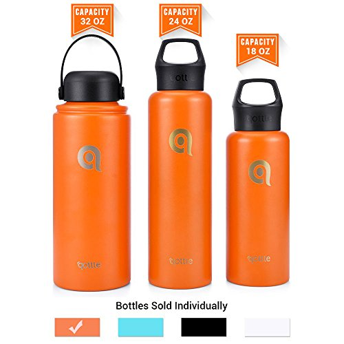 Double Wall Insulated Stainless Steel (32 oz qottle Water Bottle - Double Wall Vacuum Insulated Stainless Steel for Hot and Cold Leak Proof Flask with Wide Flex Cap-Orange)