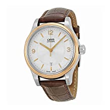 Oris Classic Date Silver Dial Brown Leather Mens Watch 733-7594-4331LS