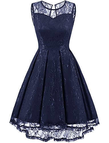 Gardenwed Women's Retro Floral Lace High Low Homecoming Dress Cocktail Party Gown Bridesmaid Dress Navy L