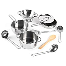 Kidami Kitchen Toys Stainless Steel Pots and Pans and Cooking Utensils, Pretend Play Cooking Toys for Kids (17 pcs, Food Included)