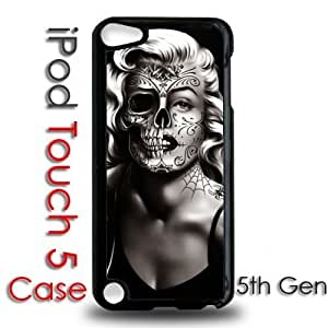 IPod 5 Touch Black Plastic Case - Marilyn Monroe Tattoo Skull Face Dia De Los Muertos