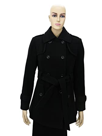Amazon.com: Women's black Wool Coat with belt-M: Clothing