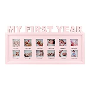 My First Year Frame Baby Picture Keepsake Frame for Photo Memories, Pink