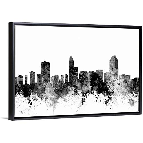 Raleigh North Carolina Skyline Black Floating Frame Canvas Art, 26