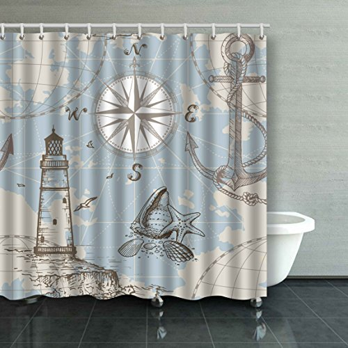 (Emvency Hand Drawn Sea Map with Compass Lighthouse Anchor and Seashells Extra Long 72x72 Inch Waterproof Shower Curtain Curtains Decorative Bathroom Odorless)