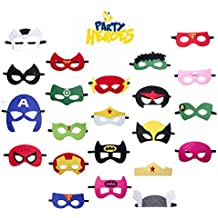 Superhero Party Supplies Masks Set by Party Heroes (22 Piece) - Superhero Party Favors for all Children Ages 3+ - Perfect for Boys and Girls Birthday Parties