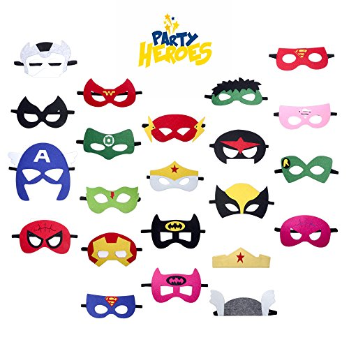 Superhero Party Supplies Masks Set by Party Heroes (22 Piece) - Superhero Party Favors for all Children Ages 3+ - Perfect for Boys and Girls Birthday Parties (22 Super Piece Set)