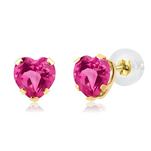 Gem Stone King 1.20 Ct Heart Shape Pink Mystic Topaz 14K Yellow Gold 5-prong Stud Earrings 5mm