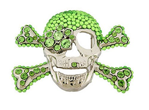 Skull Belt Buckle Rhinestones Skeleton Green Crossbones ()