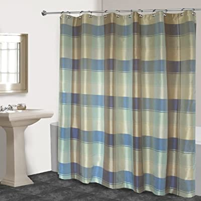 United Curtain Plaid Shower Curtain, 70 by 72-Inch, Blue/Green - Sold As Separates Fabric Content: 100% Polyester Care Instructions: Machine Wash Cold, Tumble Dry Low, Cool Iron, Never Bleach - shower-curtains, bathroom-linens, bathroom - 51HaPaGJ88L. SS400  -