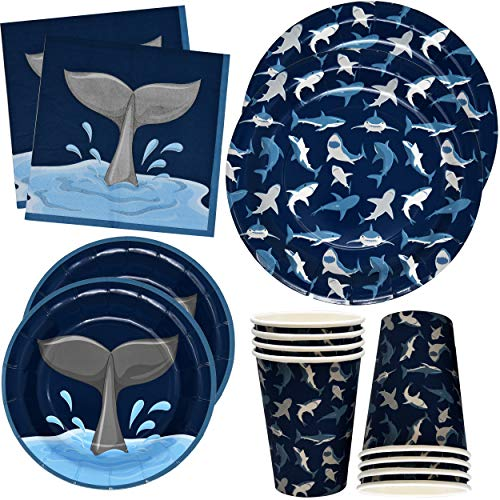 Gift Boutique Shark Birthday Party Supplies Set 24 9