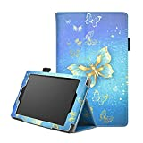 Fire HD 8 inch Case,Fire HD 8 Leather Case 6th Gen -PU Leather Slim-Fit Trifold Protective Skin Folio Case Stand Cover for Amazon Kindle Fire HD 8 Inch Display Tablet,Gold butterfly