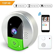 Elzoneta Wireless 720P Video Doorbell Camera - with Doorbell Chime Advanced Stable Smooth System with Night Vision Two Way Audio Motion Detection Support 128G SD Card