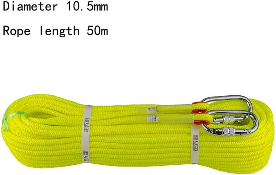 クライミングハーネス 直径10.2mmスピードドロップロープ、ポリエステル繊維静的ロープ、静的張力2350kgロープ、黄色のエスケープロープ、耐摩耗性滑り止めクライミングロープ (Color : 10.2mm - 50m) 10.2mm - 50m