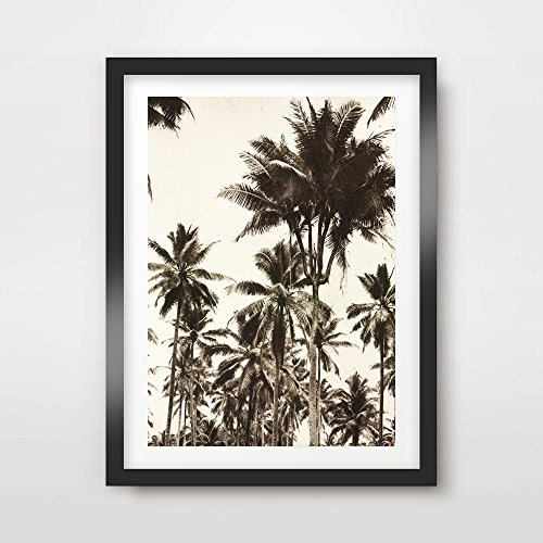 TROPICAL BLACK WHITE VINTAGE HAWAII PALM TREES SILHOUETTES ART PRINT POSTER Home Decor Wall Nature Photo Picture A4 A3 A2 (10 Sizes) ()