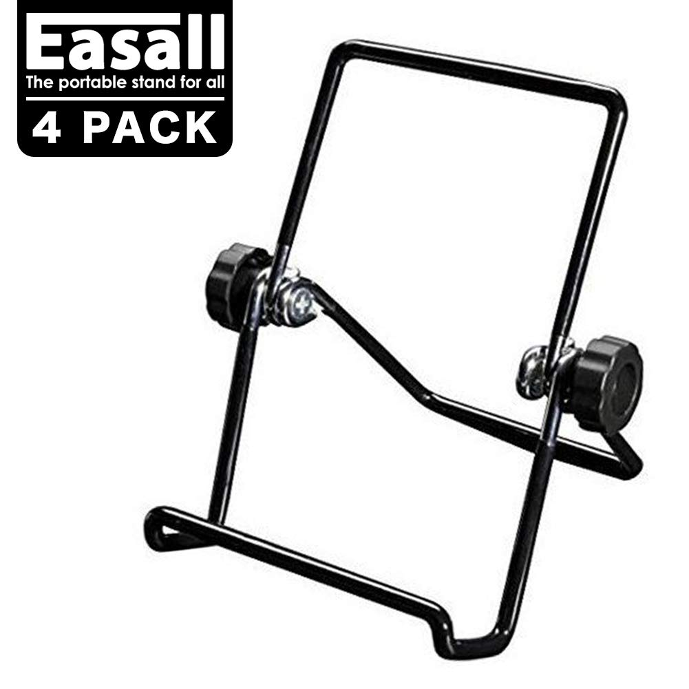 4pcs Multi Purpose Table Easels for Display Tablet Kindle, Book Display Stand for Cookbook Recipe, Desktop Plate Stand Record Frame Holder for Picture Photo Art with Anti Scratch Vinyl Coated Wire by Easall