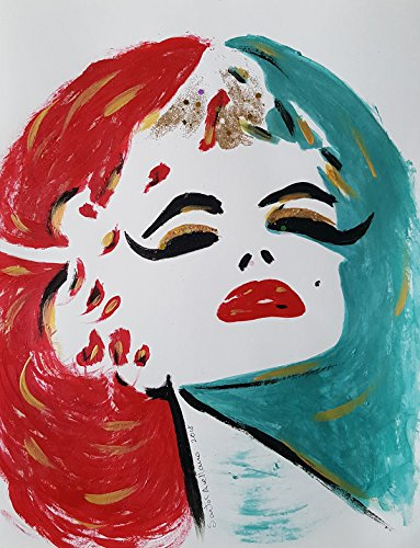Marilyn Monroe - Abstract - POP - MEXICAN FOLK ART Style :: ORIGINAL PAINTING - Modern Painting on Heavy White Paper - SIZE:11''x8.5'' - Signed by the Artist by Santos Arellano - Art & Crafts