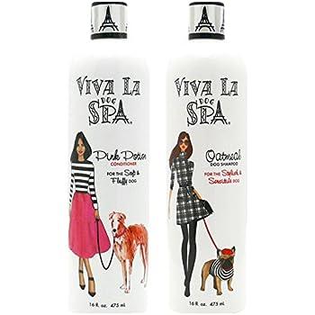 Cardinal Laboratories Viva La Dog Spa Oatmeal Shampoo,Tropical Fusion Scent,16 oz, and Pink Potion Conditioner, Kiwi Berry Scent, 16 oz