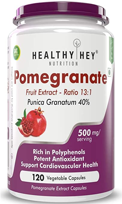 HealthyHey Nutrition Pomegranate Fruit Extract 500mg  120 Vegetable Capsules  120
