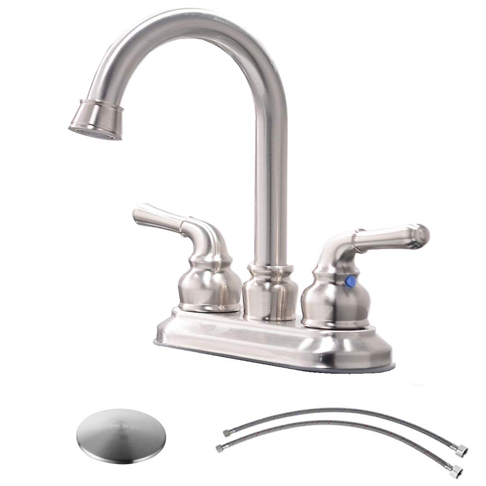 Lavatory Faucet with Drain Assembly and Supply Hose VCCUCINE Commercial Contemporary Brushed Nickel Two Handle Bathroom Sink Faucet