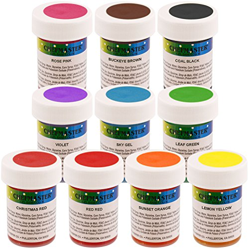 Chefmaster by US Cake Supply 1-Ounce Gel Base Food Color Senior Kit - 10 Colors