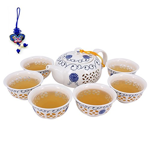 Exquisite Porcelain Hollow Out Tea Set,Kung Fu Tea Set (Teapot Set of (Exquisite Porcelain)
